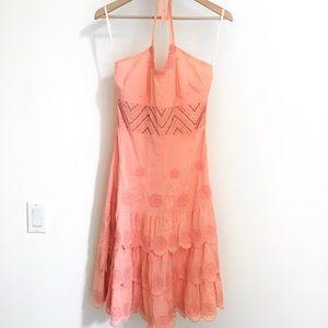 New! ANTHROPOLOGIE Pink Beaded Halter Dress